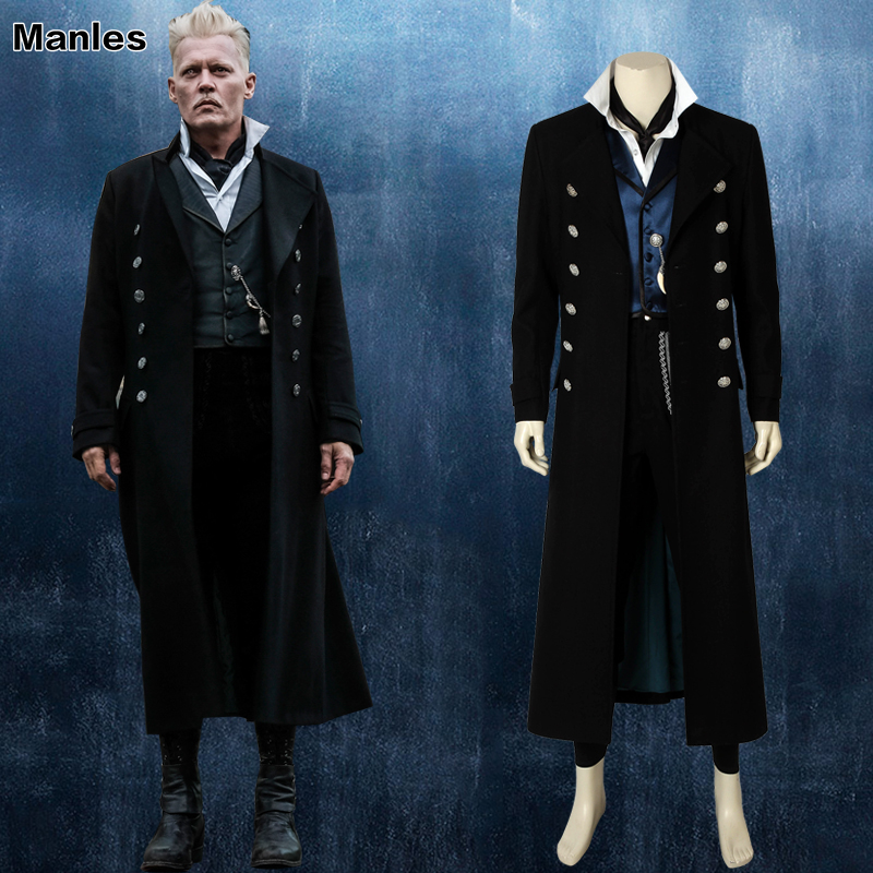 Fantastic Beasts and Where to Find Them 2 Costume Gellert Grindelwald Cosplay Carnival Adult Men Halloween Custom Made Full Set