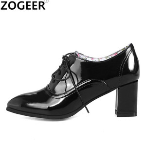 Image 1 - Brand 2020 Spring Fashion Women Ankle Boots Block Heels Oxford Shoes Women Casual PU Leather Black Red Ladies Shoes Large Size