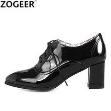 Marca 2020 primavera moda feminina ankle boots bloco saltos oxford sapatos casuais das senhoras do plutônio de couro preto vermelho tamanho grande