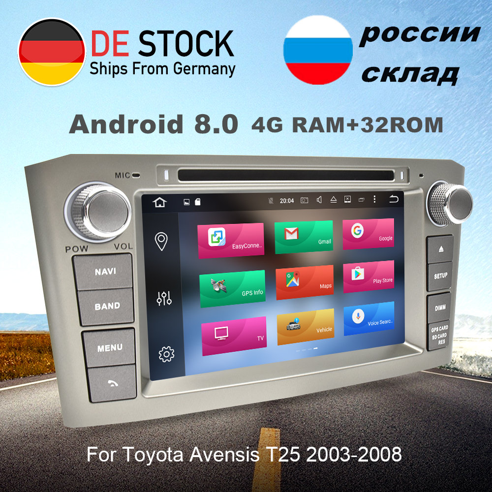 4GRAM 32GROM Android 8.0 Car Radio GPS Navigation Multimedia Stereo DVD Player For Toyota Avensis T25 2003-2008 Auto Audio 8Core цена
