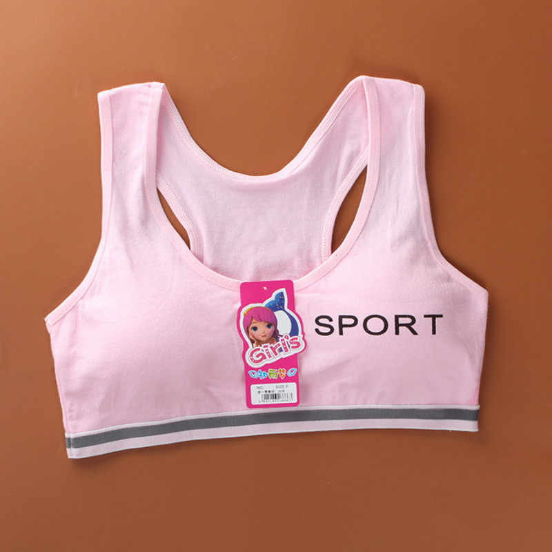Однотонные майки для девочек с буквенным принтом, хлопковое детское нижнее белье для маленьких девочек, жилет, мягкие детские тренировочные Бюстгальтеры без кольца, YFP86