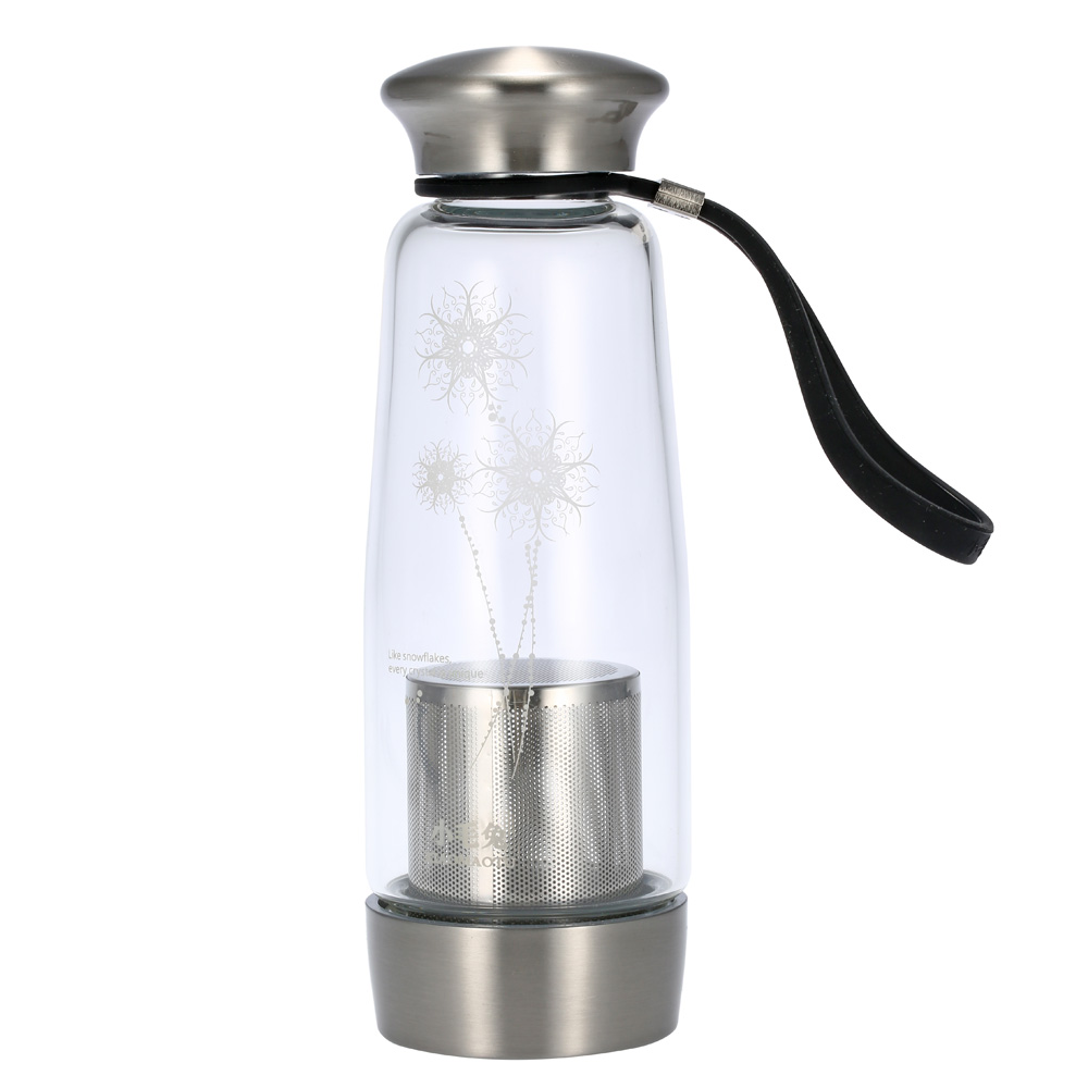 4df6ebfd0b 400ml Portable Water Cup Bottle Environmental High Borosilicate Glass  Removable Stainless Steel Bottom Filter Water Bottles
