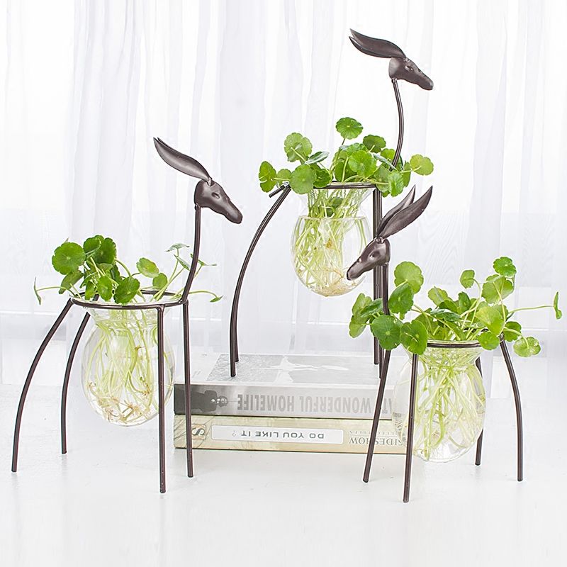 European iron deer flower vase creative hydroponic container glass living room decoration Home Furnishing floral decorations