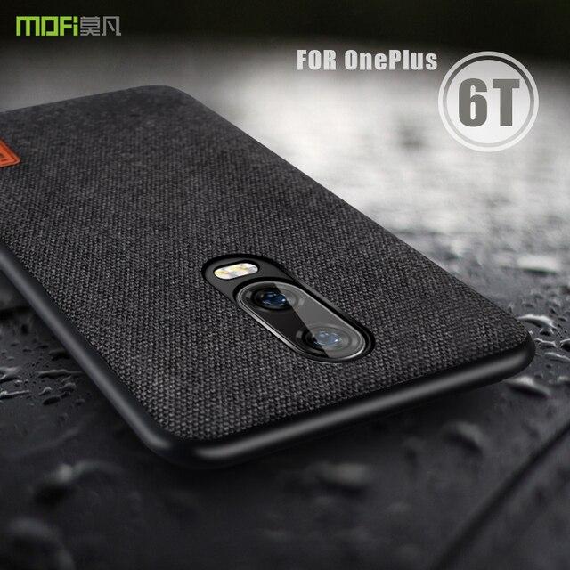 best service 1eeb4 0df91 Oneplus 6 t Case Cover MOFI Een Plus 6 t Terug Stof Case voor 1 + 6 t  Volledige Cover zachte siliconen rand Case OP6T Hard Frosted Case