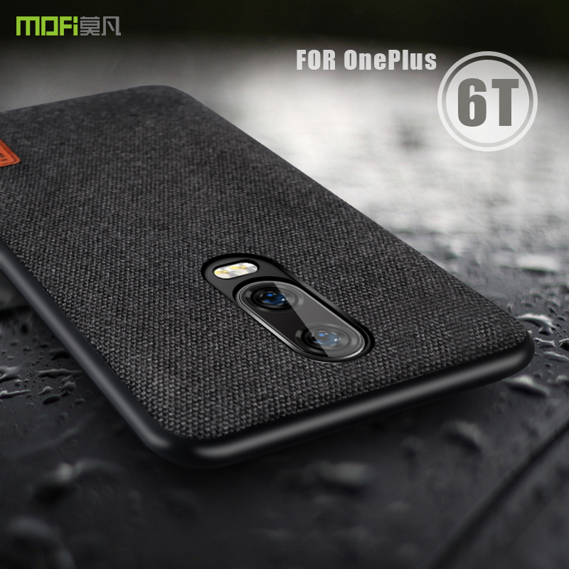 wholesale dealer 49db4 bdbc3 US $7.49 25% OFF|oneplus 6t Case Cover MOFI One Plus 6T Back Fabric Case  for 1+6T Full Cover Soft silicone edge Case OP6T Hard Frosted Case-in  Fitted ...
