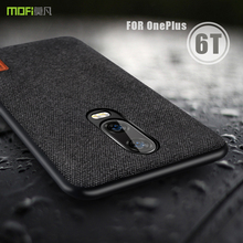 oneplus 6t Case Cover MOFI One Plus 6T Back Fabric Case for 1+6T Full Cover Soft silicone edge Case OP6T Hard Frosted Case
