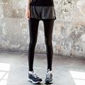 Sweatpants Mulheres Falso Duas Calças De Compressão No Tornozelo Comprimento Calças Leggings Mulher Calças Corredores Sportswear Pantalones Mujer