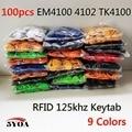 100 pcs RFID Tag de Proximidade ID Token Tag Chave Keyfobs Anel Chip ID em4100 125 Khz Cartão RFID para Controle de Acesso Tempo atendimento