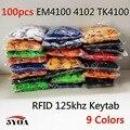 100 unids RFID Tag de Proximidad ID Token Etiquetas Tecla Mandos de Anillo 125 Khz Chip ID em4100 de Tarjetas RFID para Control de Acceso de asistencia