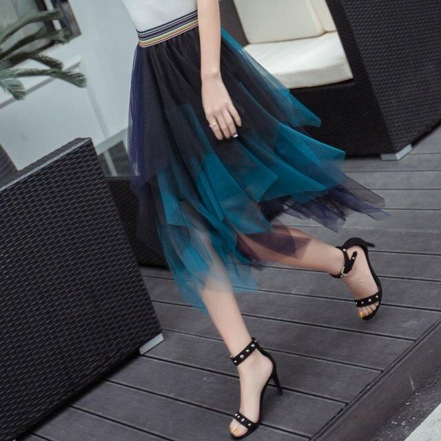 2017 Summer Fashion Elastic High Waist Long Hit Color Tulle Skirt Women Irregular Hem Mesh Tutu Skirts Lady Elegant Party Skirt