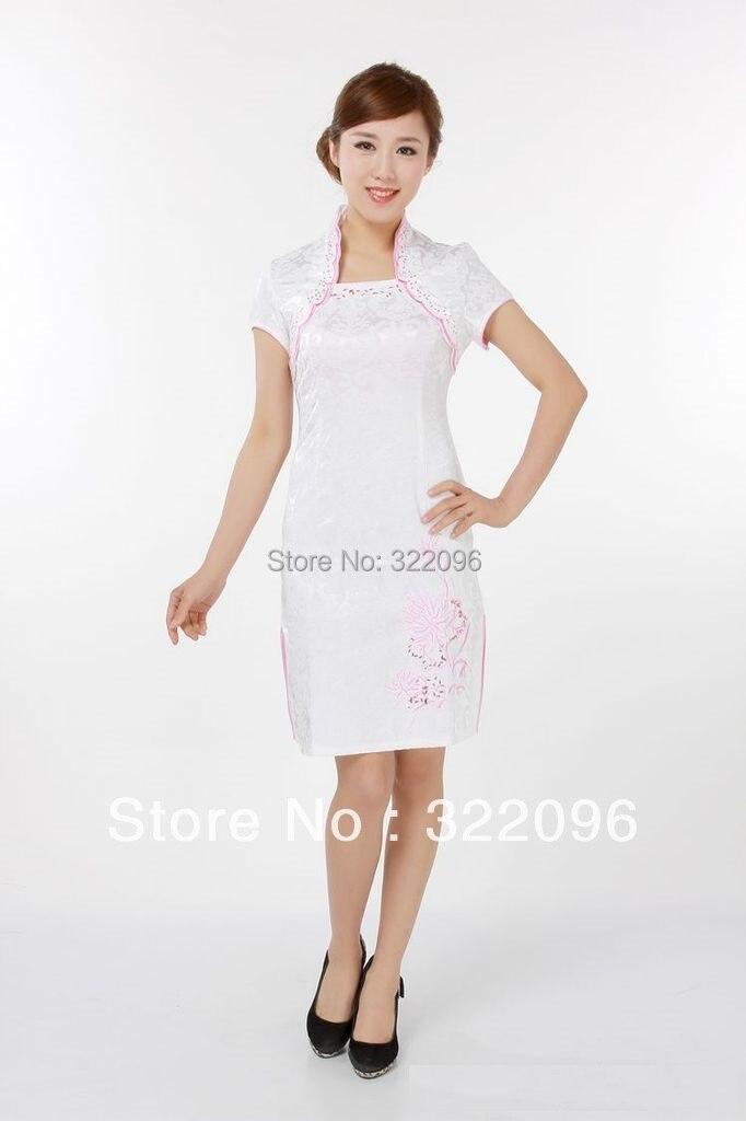 cf6cde924597d شنغهاي قصة 2019 جديد بيع الأبيض اللون تشيباو اللباس الوقوف طوق فستان جاكار  التقليدية الصينية نمط اللباس JY049--1