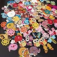 Cartoon printed button hand painted diy wood button 500pcs/pack