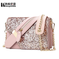 Kissyenia Famous Brand 2018 Women Bling Flap Bags PU Leather Female Shoulder Bags Lady Small Dating Clutch Bolsa Feminina KS1046