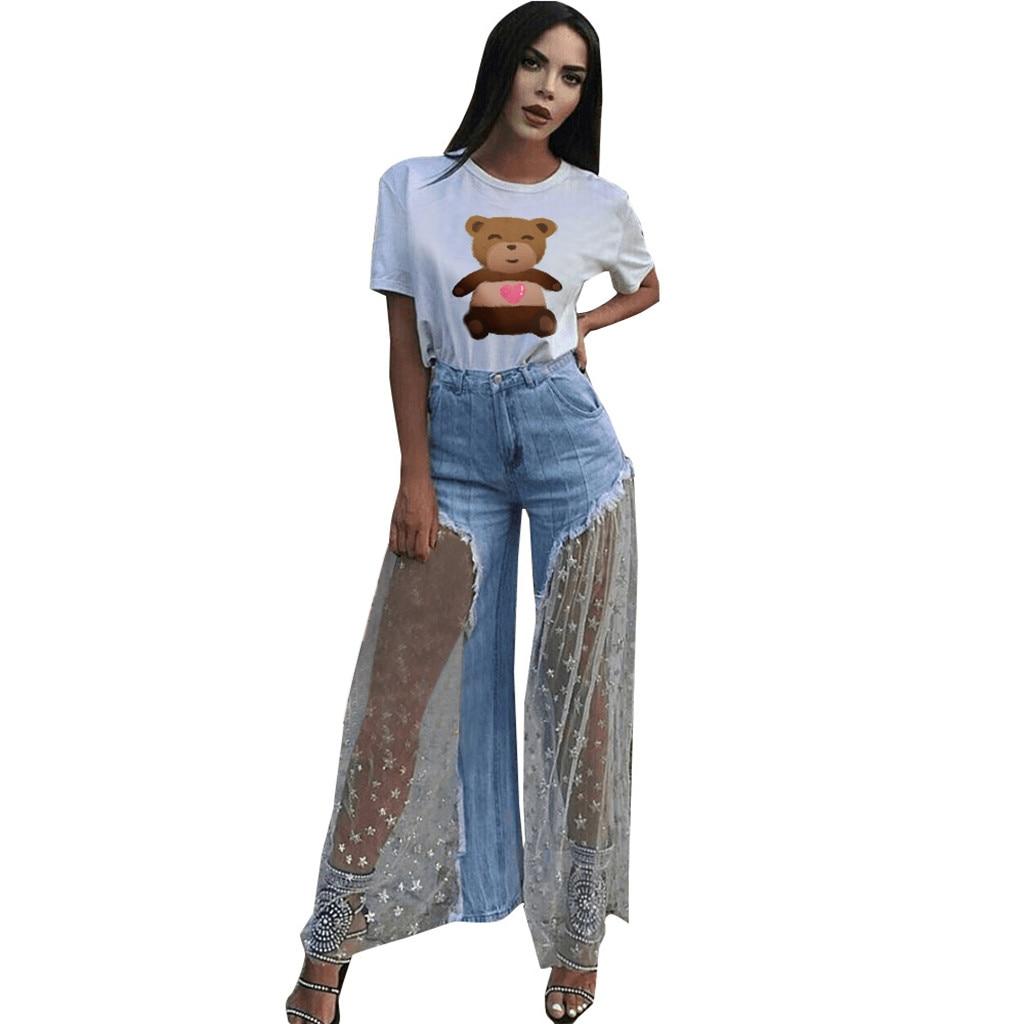 Women Skinny Flare Denim Jeans Summer   Pants   Retro Bell Bottom Wide Leg   Pants   Trousers Lace Up Female Ladies Cowboy   Pants     Capris