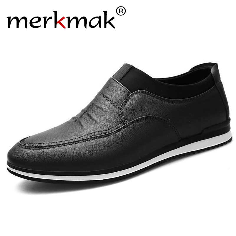 Merkmak 2019 New Fashion  Men Casual Shoes Leather Summer Men's Business British Casual Shoes For Drop Shipping