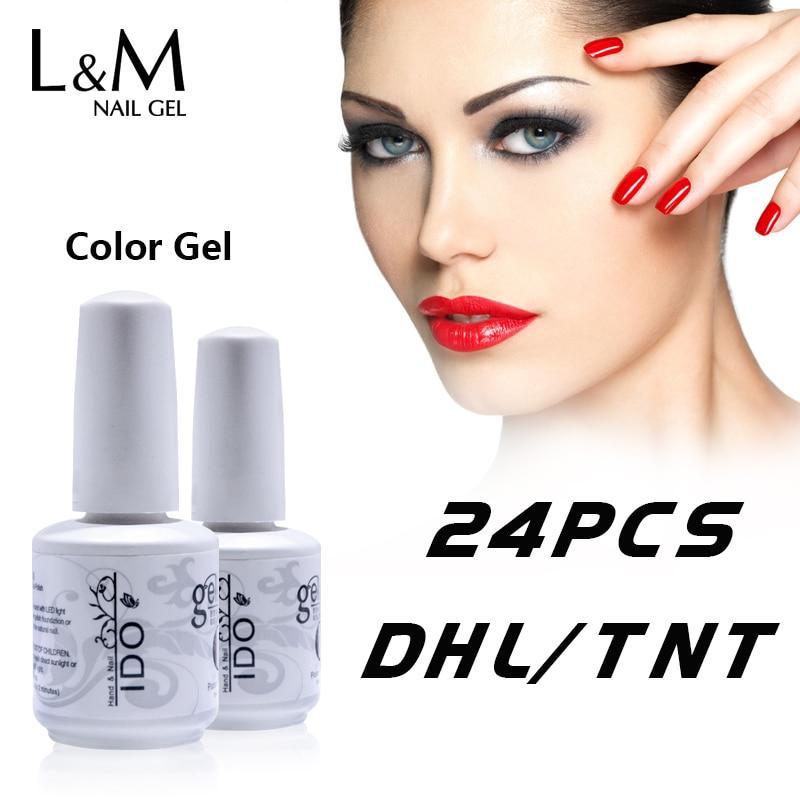 24 Pcs IDO Gel Nails Factory Wholesales 22 Colours Gel 1 Base Coat 1 Top Coat
