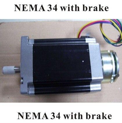Nema 34 stepper motor brake 24VDC 2N (278oz-in) Off - Brake power stepper Nema34 4-lead 114 mm body length Nema34 brake