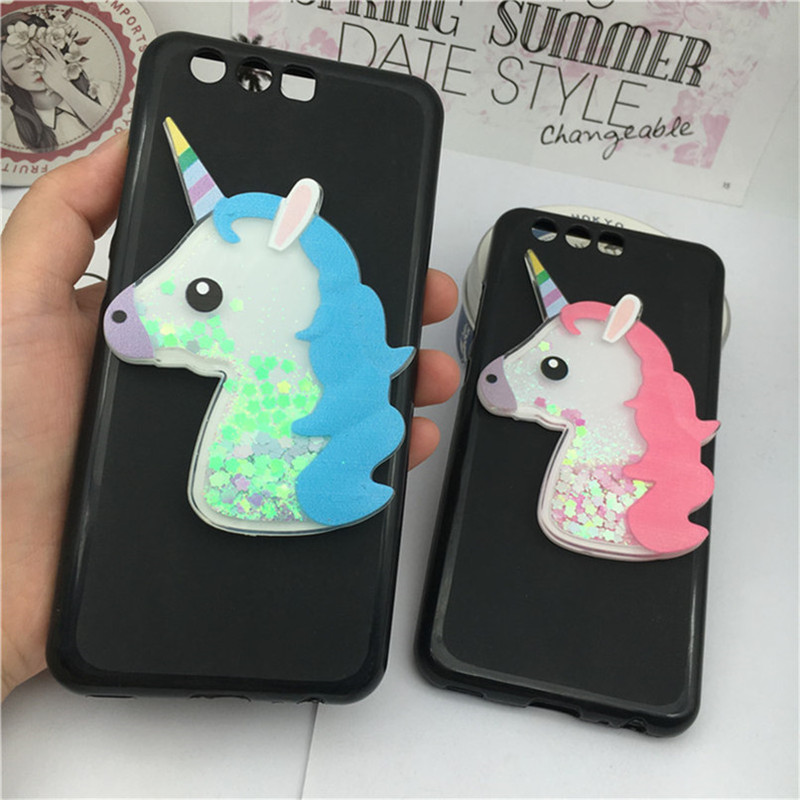 Luxury TPU Girls Case Coque for Huawei Honor V10  View 10 Unicorn Cover Dynamic Quicksand Phone Cases Glitter Liquid Silicon