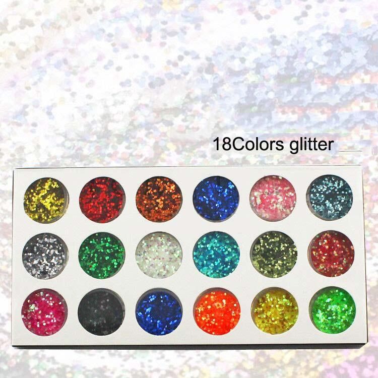 18 Gläser/lot # Gppa-18 18 Farben Spangle Sparkle Hexagon Nail Art Glitter Für Uv Gel Acryl Pulver Dekoration Tipps Maniküre Nagelglitzer