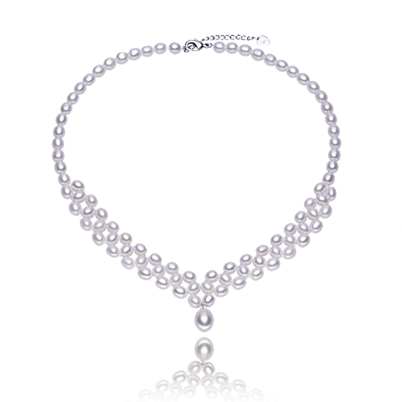 RUNZHUQIYUAN 2017 100% natural freshwater pearl choker necklace 9 10mm real pearl pendant necklace For Women gifts top quality