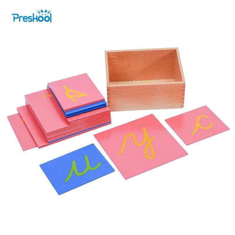 Baby Toy Montessori Language Lower Case Sandpaper Letters Cursive Tracing Board Early Preschool Brinquedos Juguetes