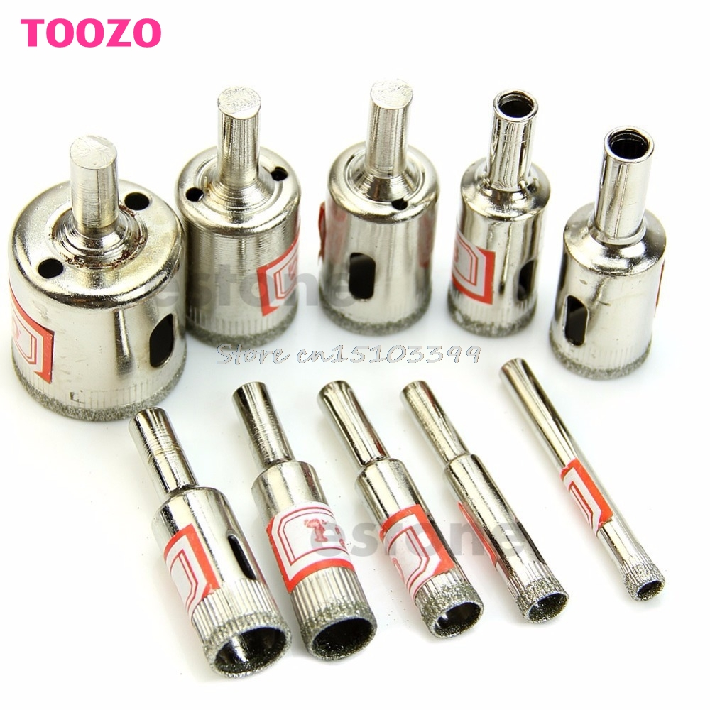 10Pcs Diamond Coated Core Hole Saw Drill Bit Set Tools For Tiles Marble Glass #G205M# Best Quality 14pcs set diamond coated hole saw core drill bit tile marble glass ceramic set 3 70mm durable in use metal drilling best price