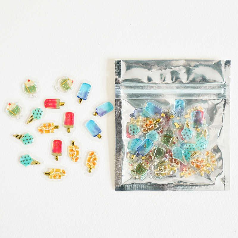 100 шт./упак. прозрачный мини-3D из чистого ПВХ наклейки в виде конфет Творческий животных Дельфин фрукты кошка декоративные Стикеры дневник