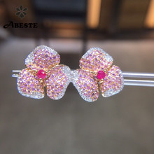 ANI 18K Rose Gold (AU750) Women Ruby Stud Earrings Natural Diamond Flower Shape Engagement Earrings Pink Sapphire Fine Jewelry solid 14k rose gold natural diamonds women stud earrings cut romantic fine jewelry engagement wedding earrings