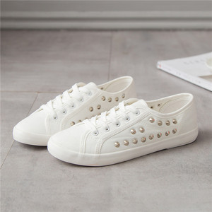 Image 4 - SWYIVY Women White Shoes Sneakers Rivet Punk 2018 Autumn Spring Female Casaul Shoes Ladies Leisure Sneakers Flat 44 Large Size