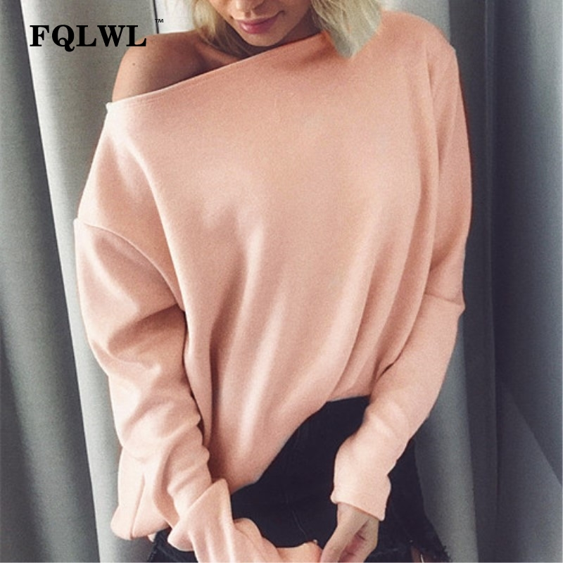 FQLWL Off Shoulder Oversized Sweater Women Long Sleeve Kintted Pullover  Female Jumpers Casual Autumn Winter Loose a64757449