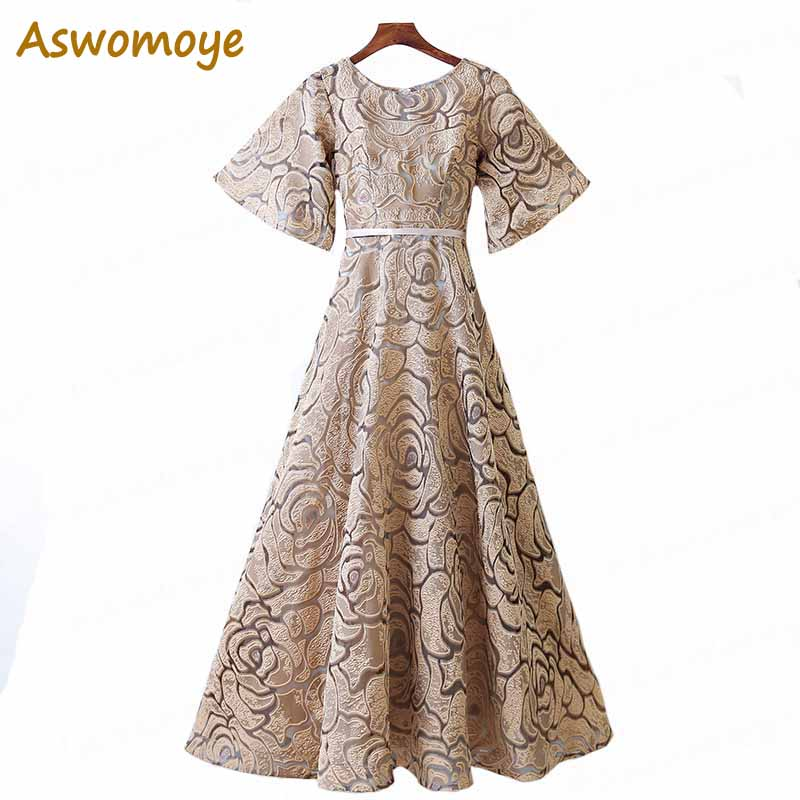 2018 New Fashion Women   Evening     Dress   O-Neck Short Sleeve Long Banquet Party   Dress   Stunning Prom   Dresses   Robe De Soiree