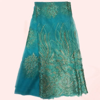 Elegant Evening Dress Material Sky Blue Gold Thread African Net Lace Fabric French Lace Material QN39