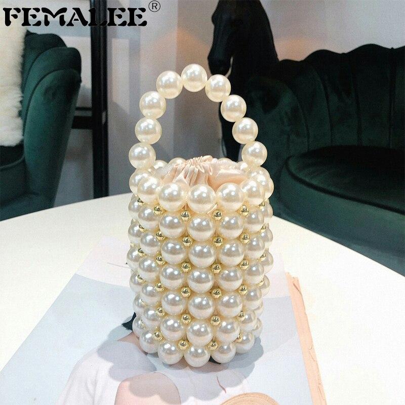 Mini INS sac de perles pour femmes mode à la main perles sacs à main soirée top de fête poignée sac dames de luxe seau fourre-tout bandoulière
