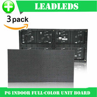 (3 pieces/lot) P6 indoor RGB Full Color LED Display Module With 1R1G1B 384*192mm 32*64 pixels for High Clear Big Screen