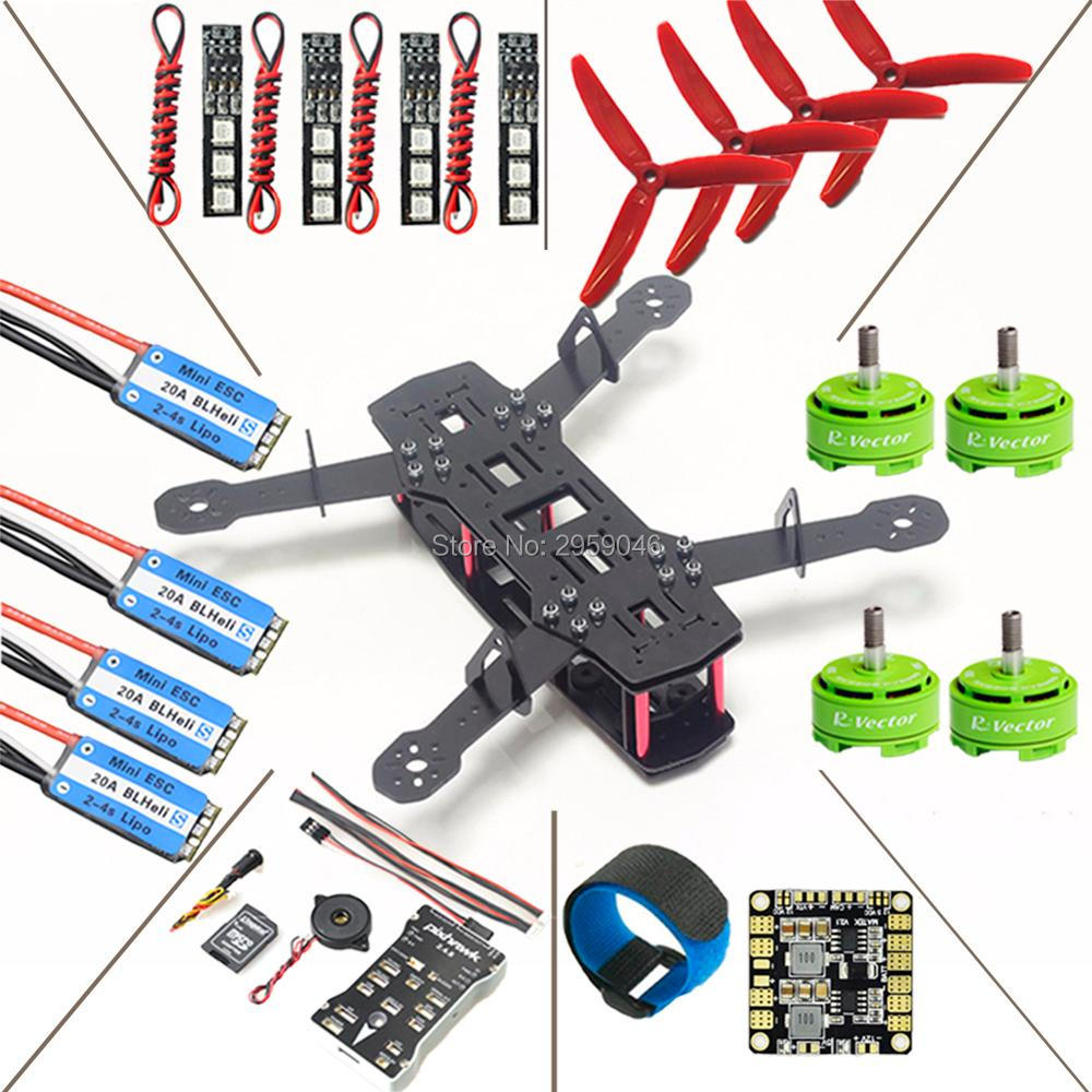 ZMR QAV250 Quadcopter Frame Kit Pixhawk PX4 Flight Controller BLHeli_S 20A RV2306 KV2650 Brushless Motor DIY fpv drone 16pcs 8 pairs 10 blade propeller 1045 brushless motor for qav250 dron drones drone frame parts kit fpv quadcopter frame