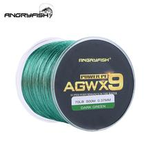 ANGRYFISH Fishing Line Diominate X9 PE 9 Strands Weaves Braided 500m/547yds Super Strong 15LB-100LB Dark Green