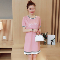 Falbala Maternity Soft Dresses Short Sleeve Clothes for Pregnant Women Breast Feeding Pregnancy Dress Summer B0412