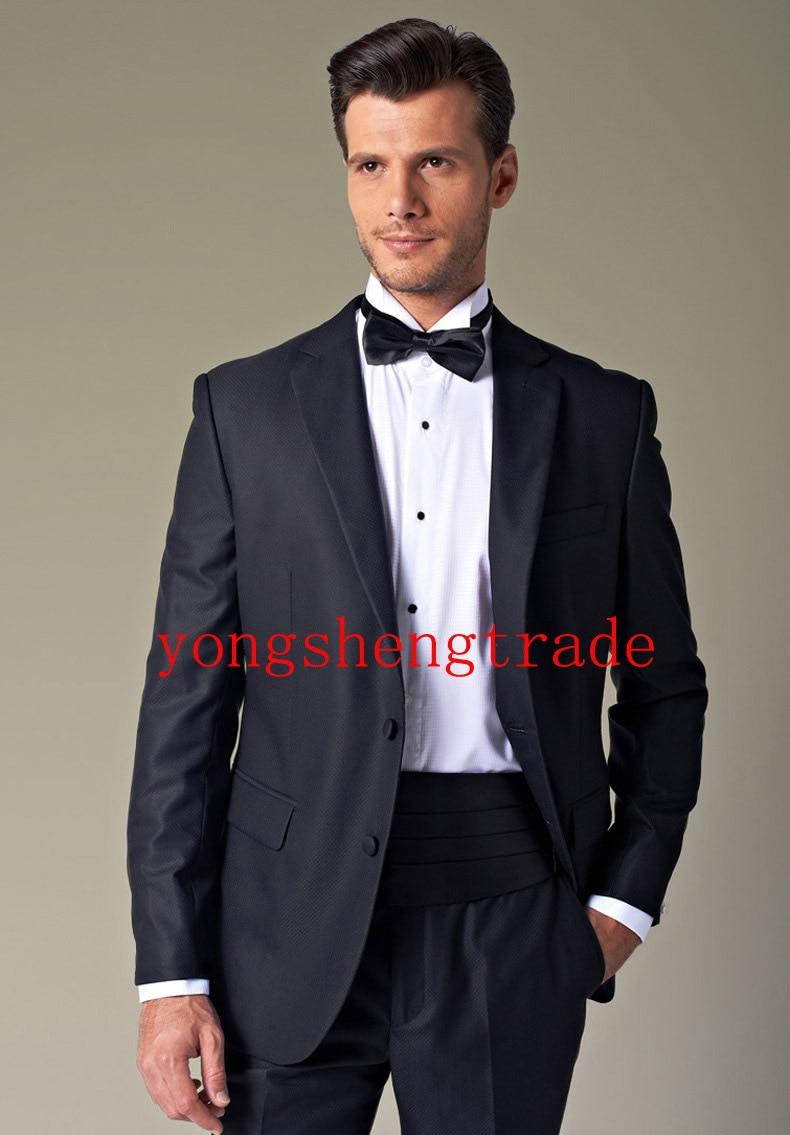 Maat trouwpak navy wedding suits best man bruidsjonkers suit ontwerp smoking (jas + broek + gordel + tie) MS0324