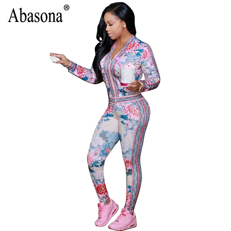 Abasona Rompers Womens Jumpsuit Long Sleeve Printed Two Piece Outfits Skinny Pants Side Striped Casual Female Jumpsuit Autumn