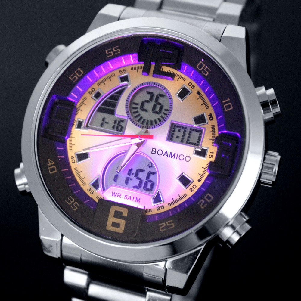 Men military sports watches Dual Time Quartz Analog Digital Watch colourful LED light full steel watches