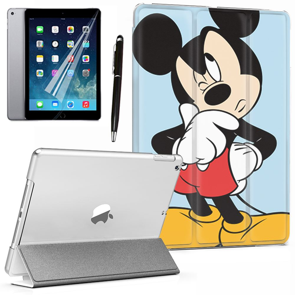 Cartoon Mickey Mouse Thinking PU Leather Smart Case Cover For IPad Mini 1 2 3 4 5 6 Generation Air 9.7