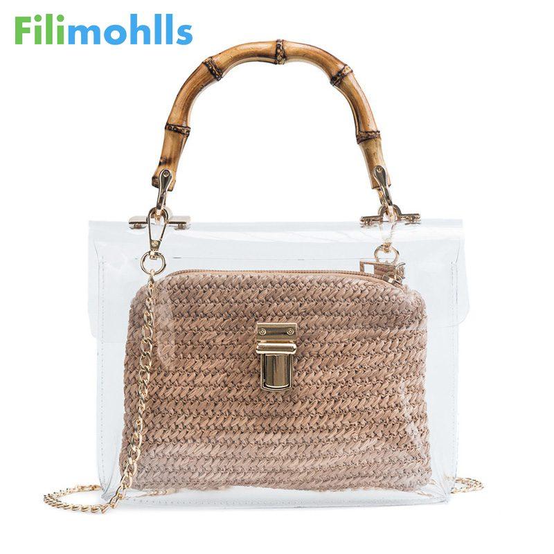 Transparent Bag For Women 2019 Handbag With Bamboo Handle Summer Small Chain Crossbody Bags Ladies Straw Beach Bags S1655 handbag