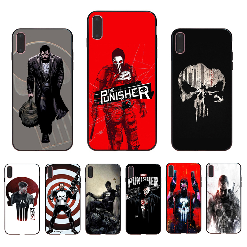 IMIDO Marvel Avengers PUNISHER soft black silicone case for iphone 7 8 X XS XR XSmax 6 5 6s/6/7/8plus 5S 6S SE TPU phone shell