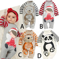 2017 New Baby Rompers 100% Cotton Long Sleeve Bebe Newborn Baby Boy Clothes Panda Design Newborn Baby Clothes Girl Baby Costumes