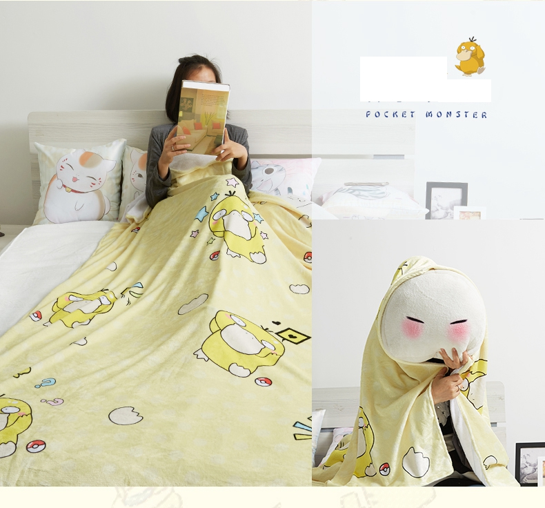 Novelty & Special Use Anime Jk Japan Pikachu Tonari No Totoro Psyduck Madara Cosplay Flannel Blanket 1.5*2m Cartoon On Bed Plush Sleep Cover Bedding