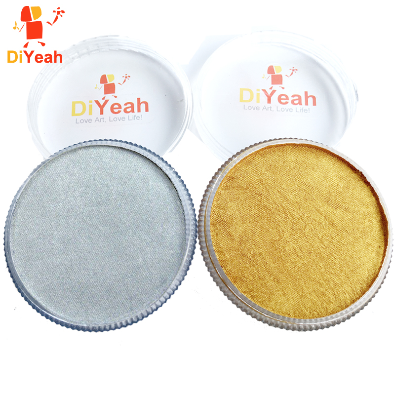 Guld Silver Face Body Paint Pearl Metallic Färg Ritning Pigment 30g Vattenbaserad Face Makeup Cream Face Painting Halloween Party