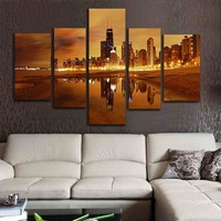 Unframed 5 Pieces Modern Wall Art Canvas Painting City Paintings on Canvas Wall Art for Home Decorations Wall Decor Artwork