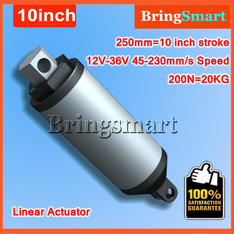 12V DC 250mm Stroke 10Inch Electric Linear Actuator 45-230mm/s 10inch 200N 20KG Load 12-36V DC High Speed Tubular Electric Motor 10inch 250mm stroke 12v dc electric linear actuator 4 27mm s 150kg load 12 36v dc 1500n heavy duty tubular electric motor 24v