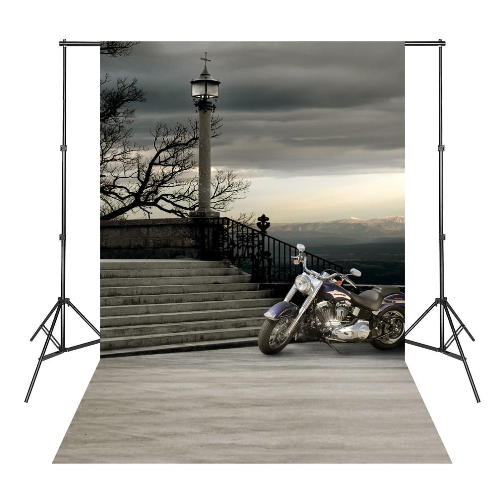Grey Sky Motorcycle Steps Photography Backdrops Photo Background Photocall Fotografie