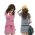 Плюс размер Женщины платья С Коротким рукавом Хлопок Полосой Dress Дамы Летней Одежды Sml XL 2XL 3X 4XL